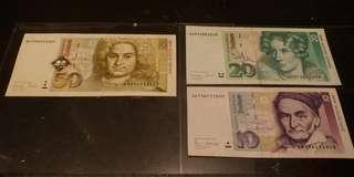 1989至96年 德國 10 20 50馬克 Vf+ 美品+
