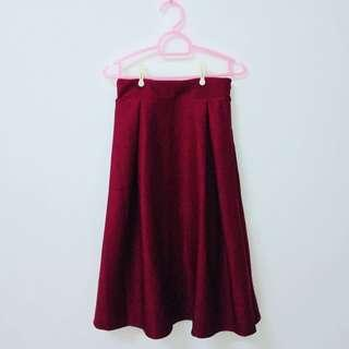 Maroon Red A-line Korean Style Skirt