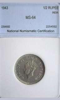 Coin India 1943 silver 1/2rupee Near Gem Unc