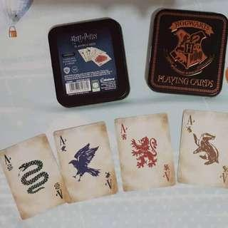 Harry Potter Hogwarts Playing Cards in Embossed Gold Tin Case