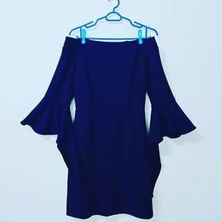 Blue off shoulder Korean Dress #Oct10