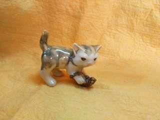石灣陶瓷貓捕鼠 貓戲鼠