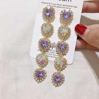(全新轉售/售價含運費)Twice 林娜璉同款 華麗風愛心鑲鑽寶石耳環