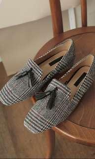 韓國格仔方頭鞋樂福鞋奶奶鞋