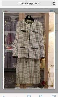 Vintage Chanel Suit Set Plaid Wool Jacket And Matching Skirt FR38