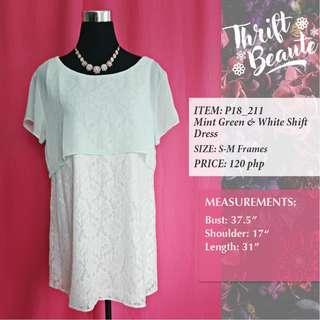 Mint Green & White Shift Dress