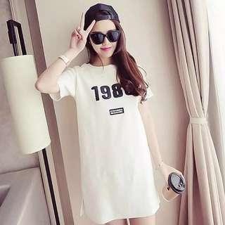🚚 #008 '1986' mid-length dress ( pink / white )