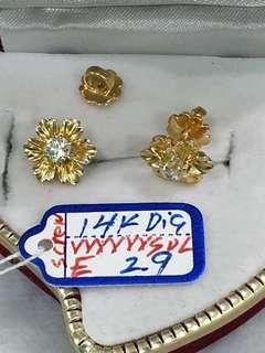 14k Earrings with Diamond Screw type