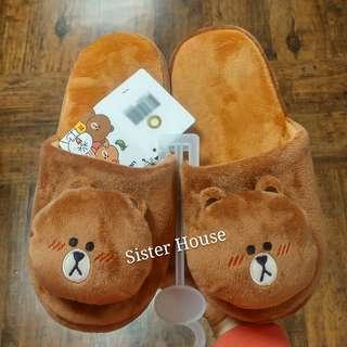 🇰🇷 LINE Friends Brown Indoor Slippers 熊大室內拖鞋