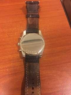 Fossil Chronograph Watch Leather Strap Used Good Condition