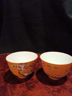清光緒年薄胎彩繪茶碗