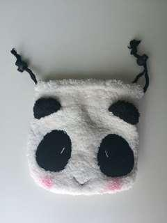 Cute Panda Face Furry Soft Pouch Storage Bag with Drawstring