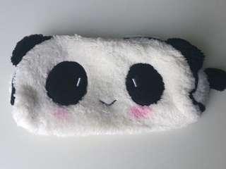 Cute Panda Face Furry Soft Zipper Pouch