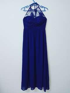Dark Blue Neck Tied Dinner Long Dress