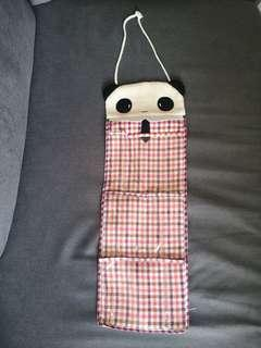 Hanging Panda Face Storage Pouch Slots for Toiletry Cable Organization