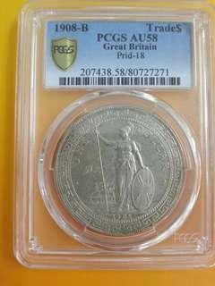1908 British Trade Dollar PCGS AU58