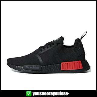 081031010  PREORDER  ADIDAS NMD R1 TRIPLE BLACK LUSH RED