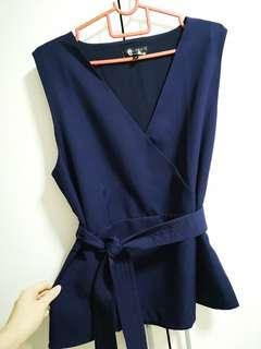 Zalora Navy Blue Peplum Top with Karate Belt