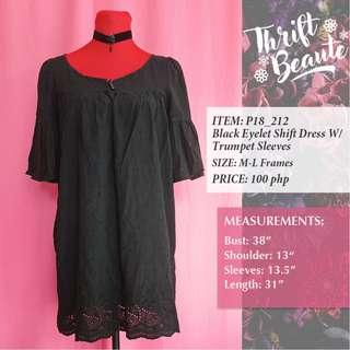Black Eyelet Shift Dress With Trumpet Sleeves