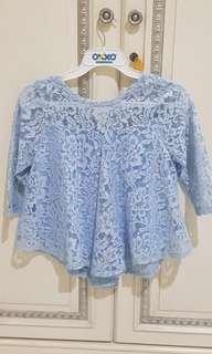 Atasan lace biru muda bagsu