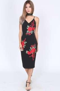 MDS floral maxi bodycon dress