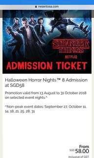 1 Pair of Universal studios Singapore Halloween horror night 8 tickets for sale