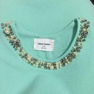 🚚 韓國 蒂芬尼綠 洋裝 珍珠領