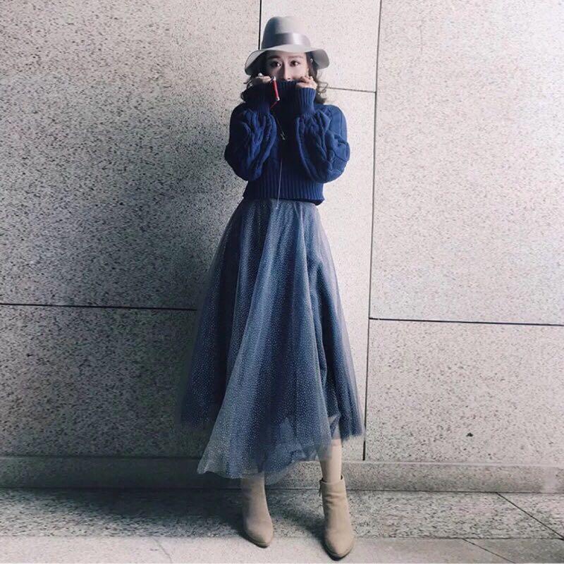 公主袖毛衣+亮片紗裙套裝 M號