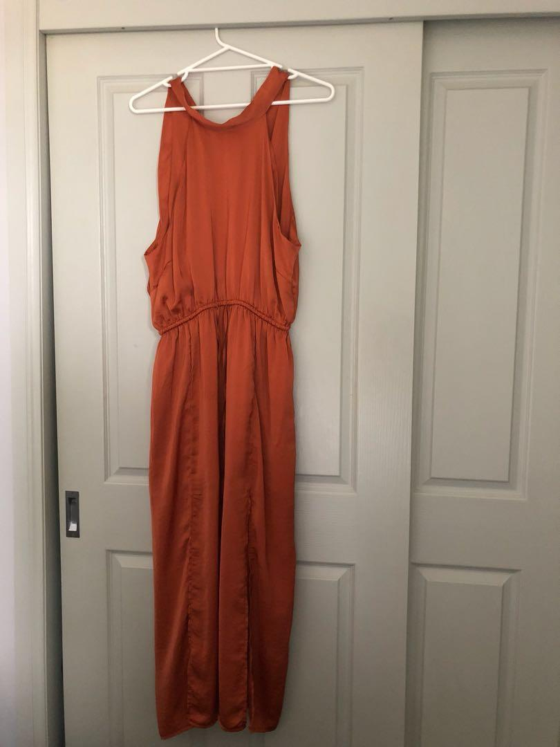 Ally Fashion 'Knight Angel' Burnt Orange satin drawstring dress