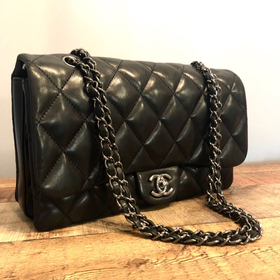 88a0001c747d Authentic Chanel 11 Inch Large Classic Flap with Shiny Silver ...