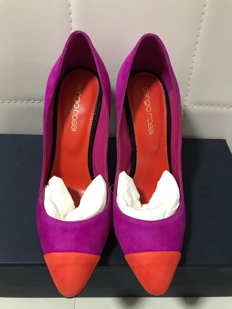 322510d5ccc5 BNIM Sergio Rossi Pink Tricolor Suede Leather Pumps