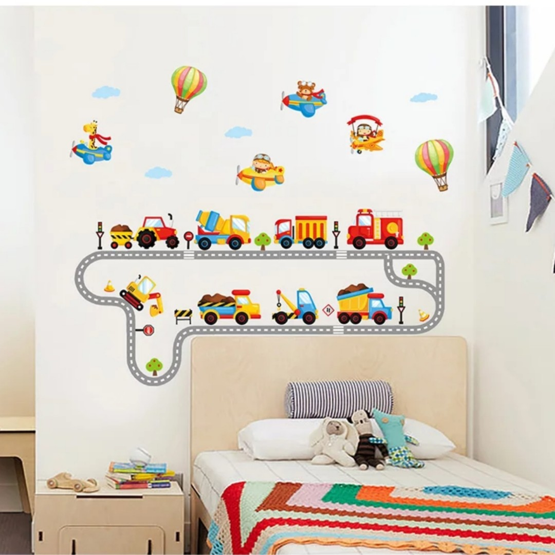 Cartoon Car Engineering Car Road Wall Stickers Childrens Room