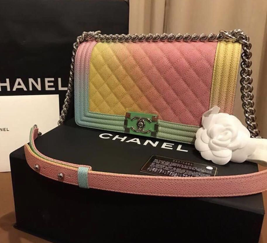 7b1ecb65cef8 Chanel boy rainbow, Luxury, Bags & Wallets, Handbags on Carousell