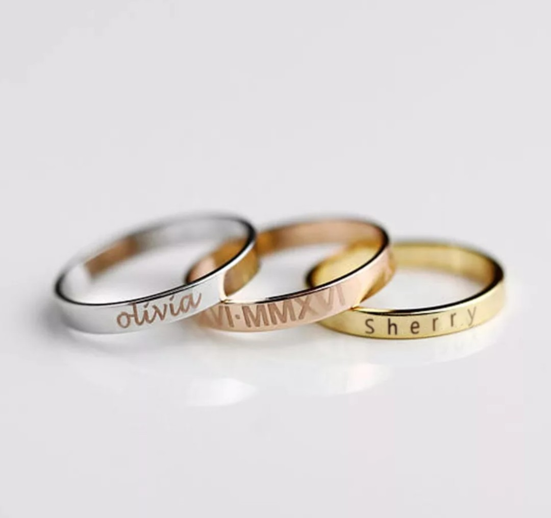 photo photo ... & Couple Rings Custom name ring personalized gift best gift for her or ...