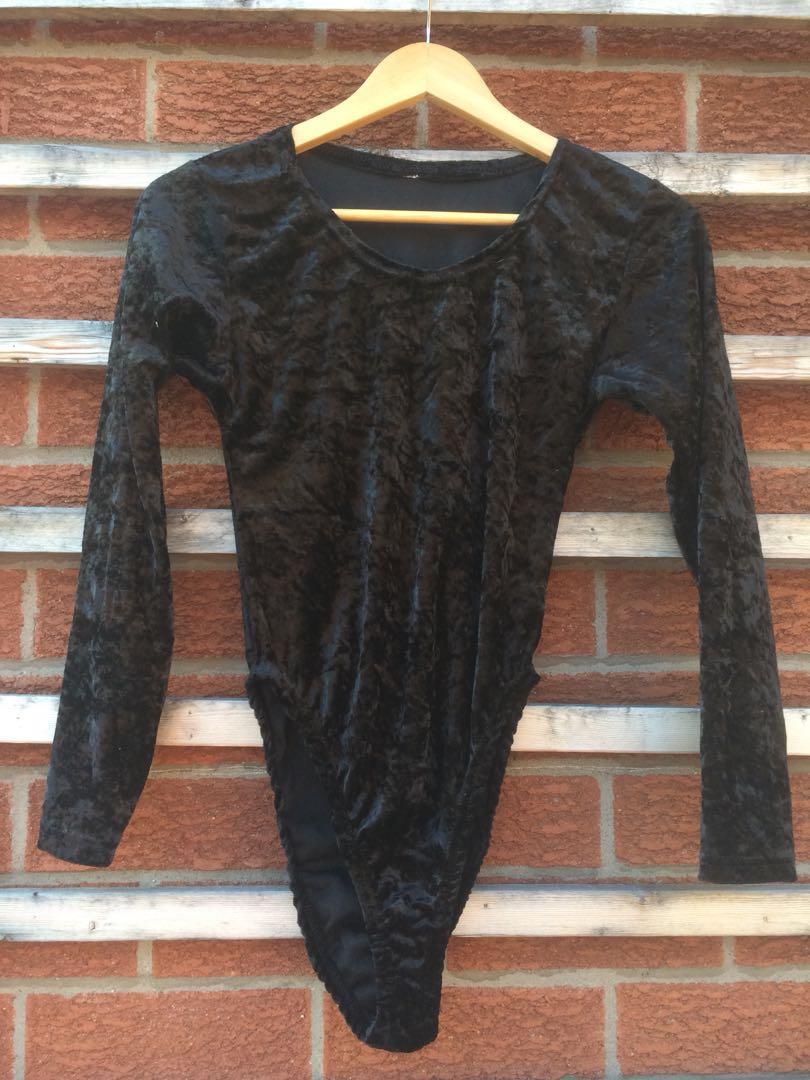Crushed velvet body suit