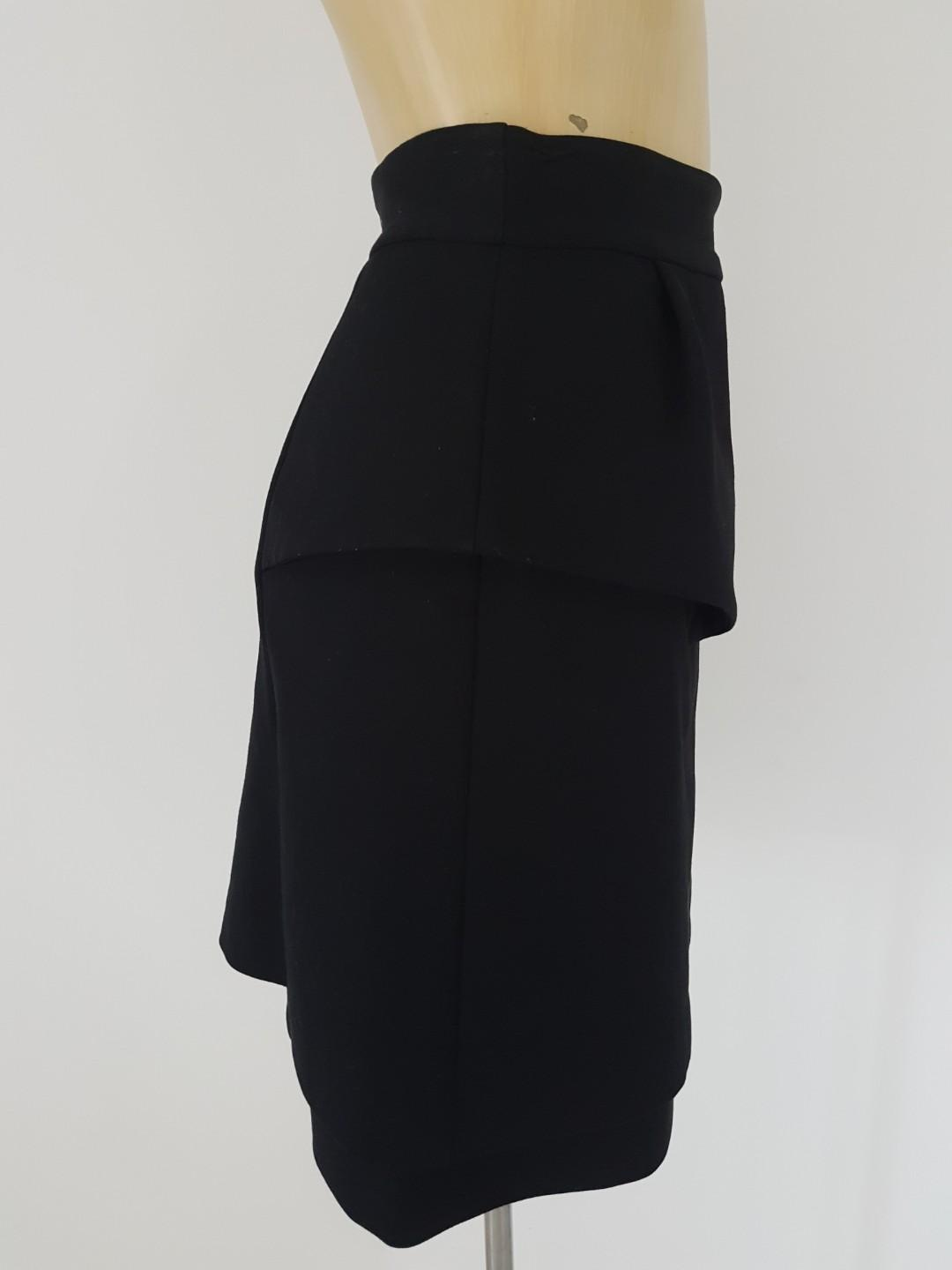 Cue Size 8 Peplum Black Lined Skirt - Excellent Condition!