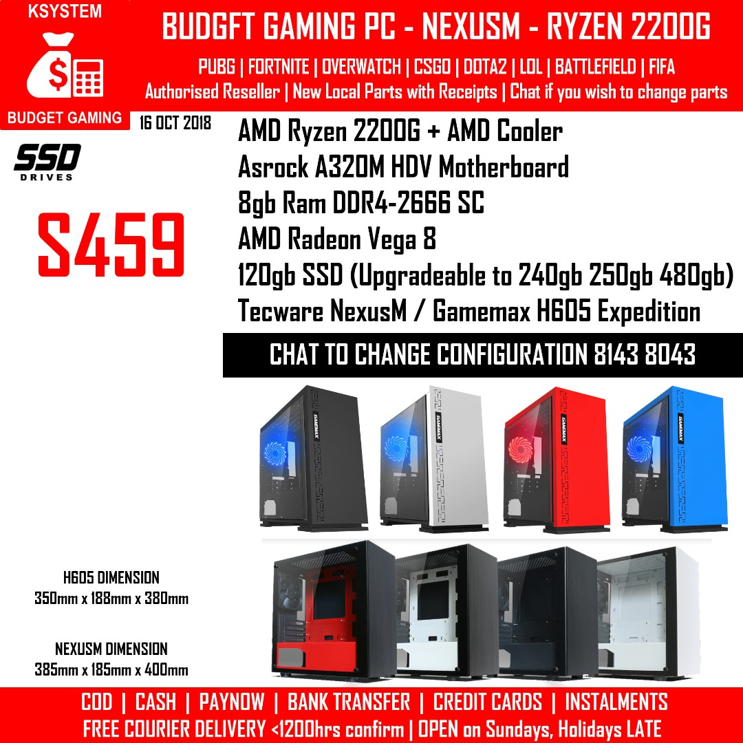 KSYSTEM AMD RYZEN 2200G RADEON VEGA 8 GAMEMAX H605 TECWARE NEXUS M