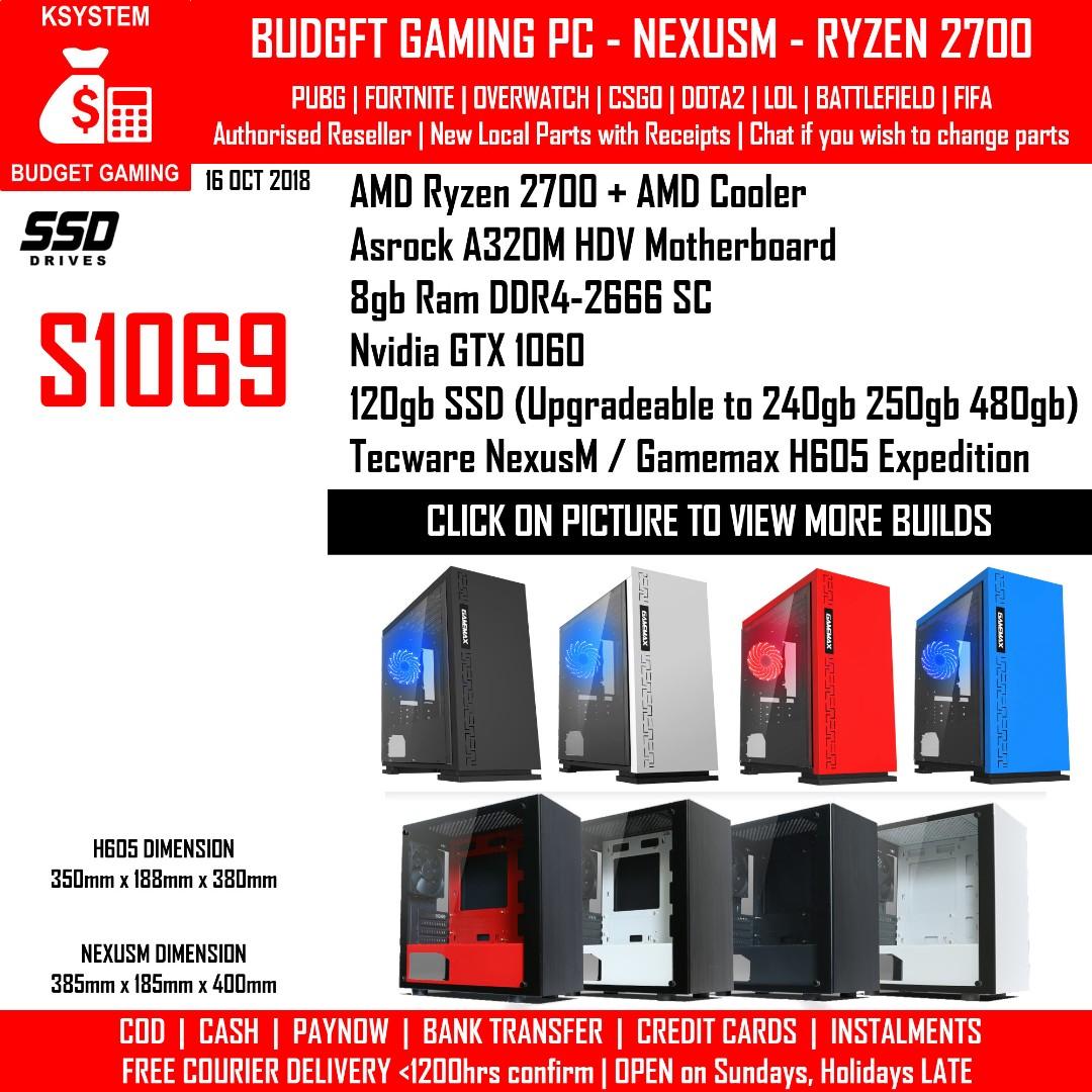 KSYSTEM AMD RYZEN 7 2700 NVIDIA GTX 1060 3 GAMEMAX H605 TECWARE NEXUS M