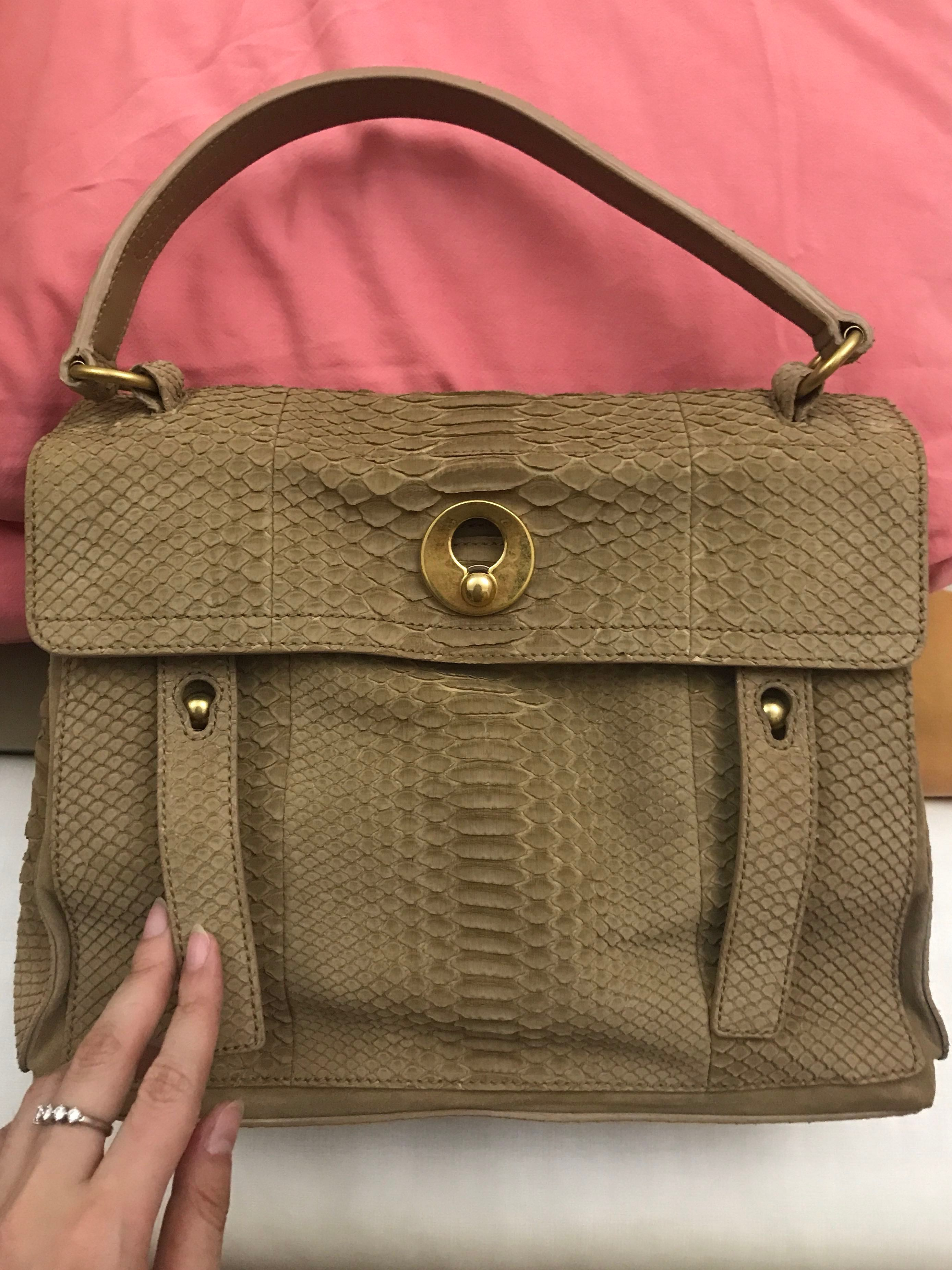 New condition! Ysl Muse two Python full leather exotic bag in Nude ... 10d8ddeac7206