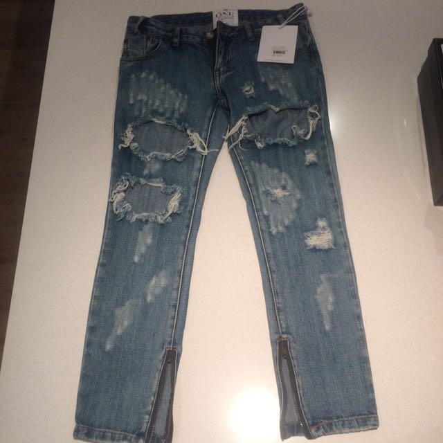 One Teaspoon Ripped Jeans Size 24 (6-8 approx)