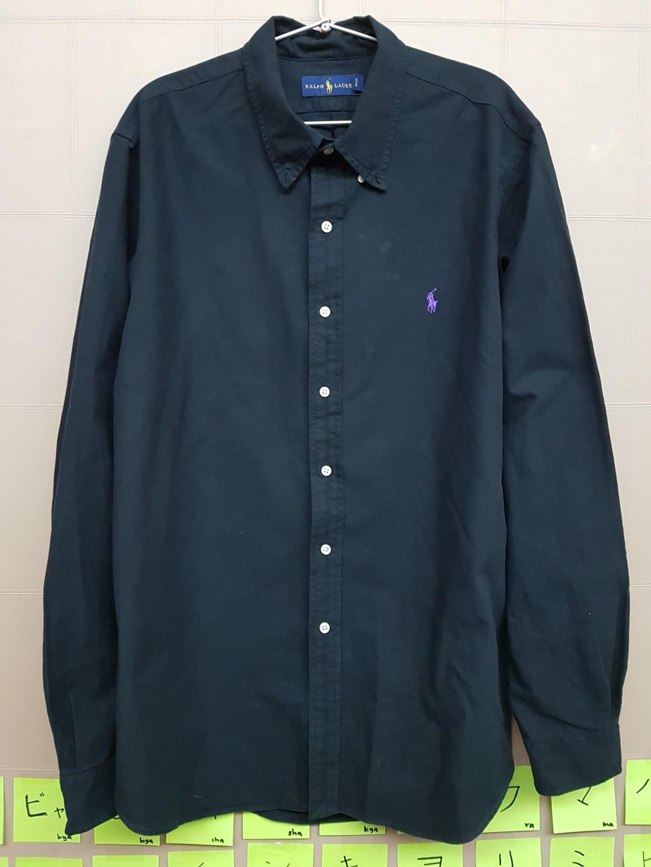 9bec1265 Original Polo Ralph Lauren Work Shirt Long Sleeve Black XXL, Men's ...