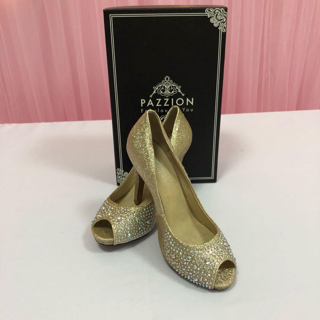 Pazzion High Heels Sparkling Gold for