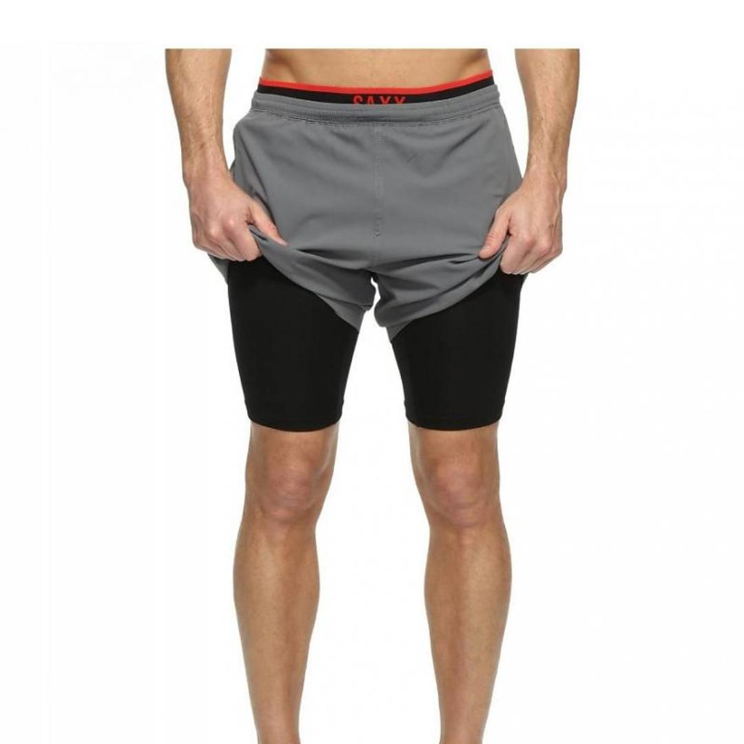 SAXX MENS KINETIC TRAIN 2N1 SHORTS GREY Medium Large X-Large