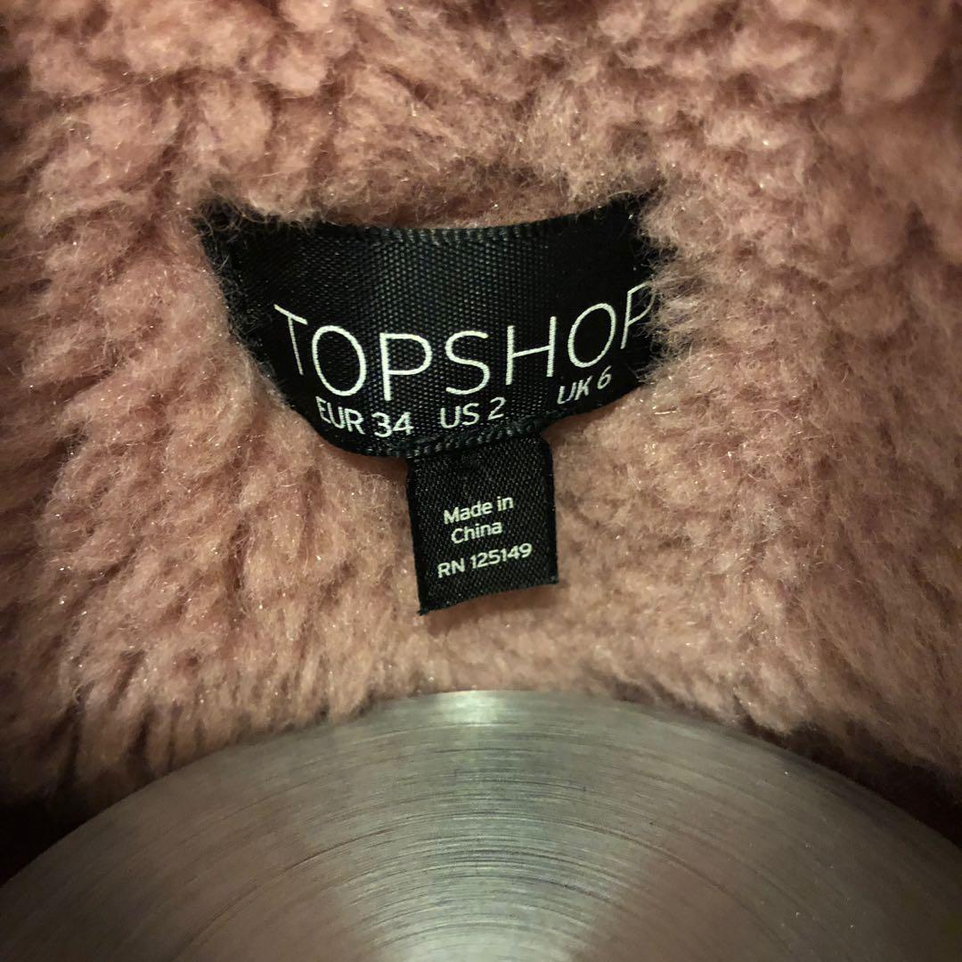 Topshop Pink Teddy Coat