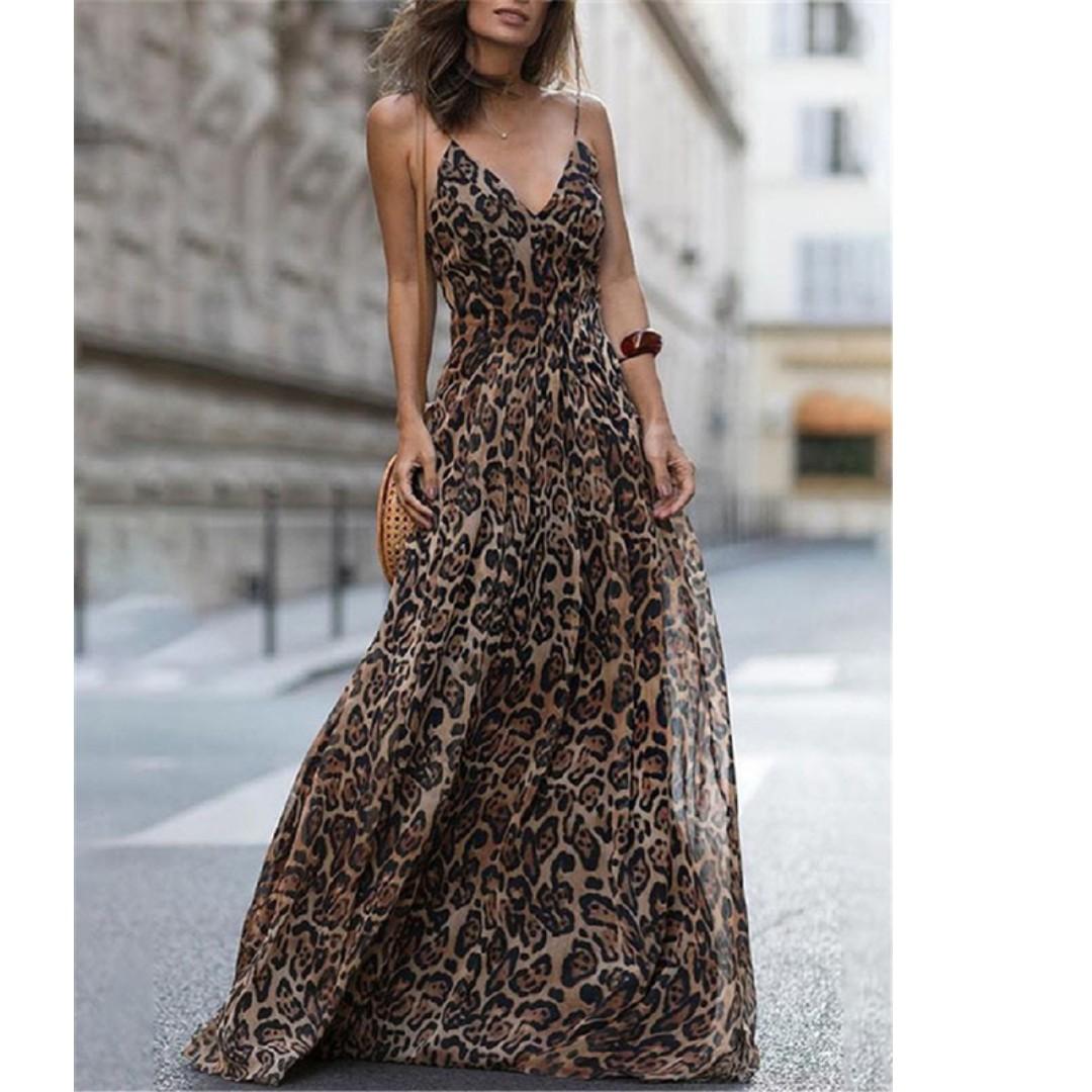 fc6f59adfd0c V Neck Leopard Spaghetti Strap Dresses (Pre-Order), Women's Fashion ...