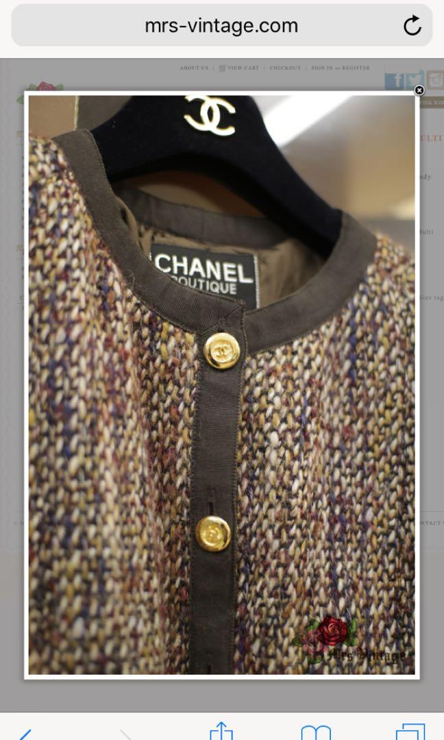 55ae0369ceda2c Vintage Chanel Brown/Beige/Burgundy Multi Coloured Tweed Jacket FR38 ...