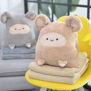 抱枕被子兩用  午睡枕頭 可愛靠枕 折疊毯子 午休被子暖手