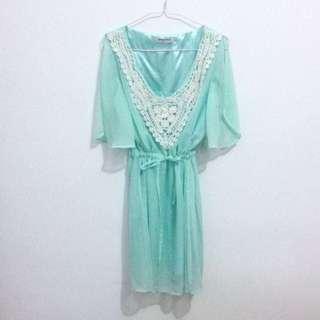 🚚 Laced With Threads Opulence Jade Green Chiffon Crochet Float Split Sleeves Tunic Tie Waist Dress