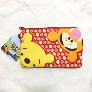 🚚 BNWT Winnie The Pooh Red Duo Compartment Canvas Pouch Pencil Case