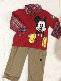 Mickey mouse terno pants and polo by mother care
